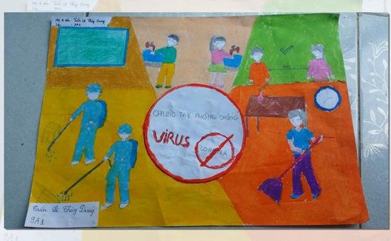 Học sinh nông thôn Cần Thơ vẽ tranh chủ đề phòng chống Covid-19
