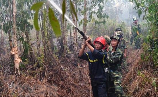 Rừng tràm Hòn Đất vẫn đang cháy âm ỉ