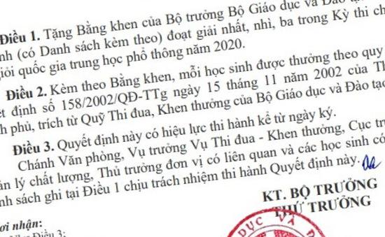 Danh sách học sinh giỏi quốc gia THPT năm 2020 được tặng Bằng khen