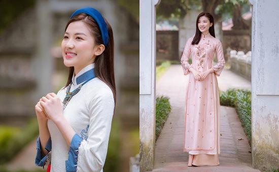 Lương Thanh đẹp mảnh mai trong áo dài Tết của Hoa hậu Ngọc Hân