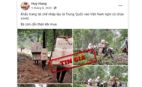 Xuất hiện tin giả khẩu trang tái chế nhập lậu từ Trung Quốc nghi có COVID-19