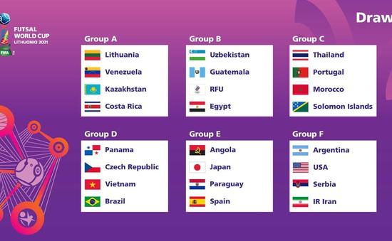 Bốc thăm chia bảng futsal World Cup 2021: ĐT futsal Việt Nam cùng bảng Brazil, Panama và CH Czech