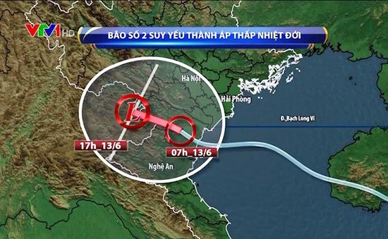 Bão số 2 trên đất liền suy yếu thành áp thấp nhiệt đới