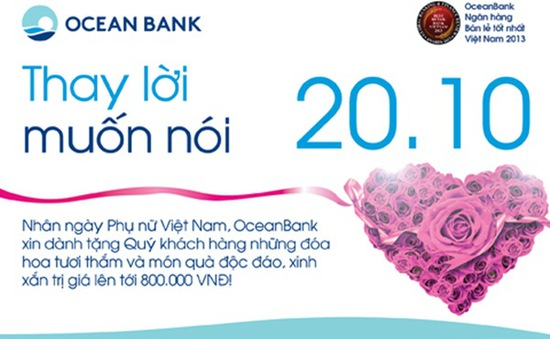 Oceanbank tặng quà độc đáo cho khách hàng nữ dịp 20/10