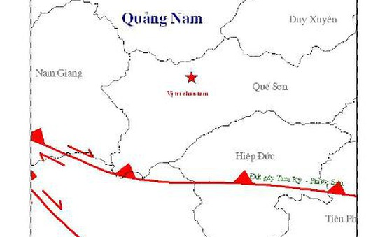 Thêm 2 trận động đất trên địa bàn Quảng Nam