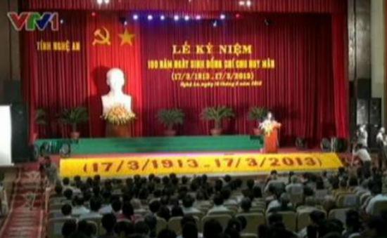 Long trọng kỷ niệm 100 năm ngày sinh đại tướng Chu Huy Mân