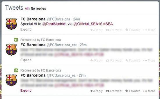 Twitter của Barca bị hacker tấn công, đăng nội dung công kích nhà tài trợ