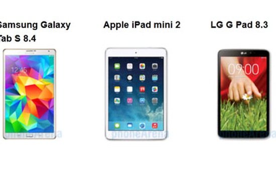 Galaxy Tab S 8.4 so tài cùng iPad Mini 2, G Pad 8.3