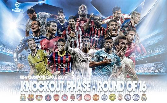 Champions League vòng 1/8: Lịch truyền hình trực tiếp ngày 26/2 - 27/2