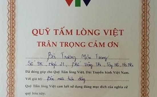 Bà Trương Mậu Trang ủng hộ chương trình TTCE 40 triệu đồng