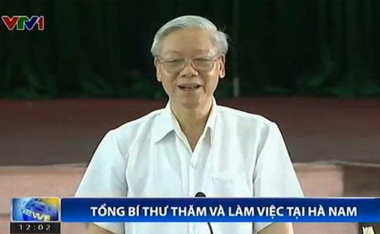 Tổng Bí thư Nguyễn Phú Trọng thăm và làm việc tại Hà Nam