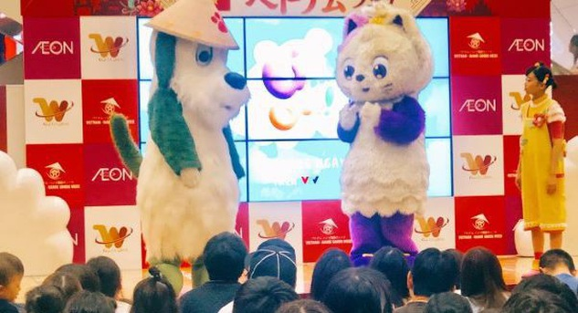 VTV7's purple cat Meo Meo first show-up in Japan