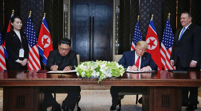 US President and North Korean leader sign historic agreement