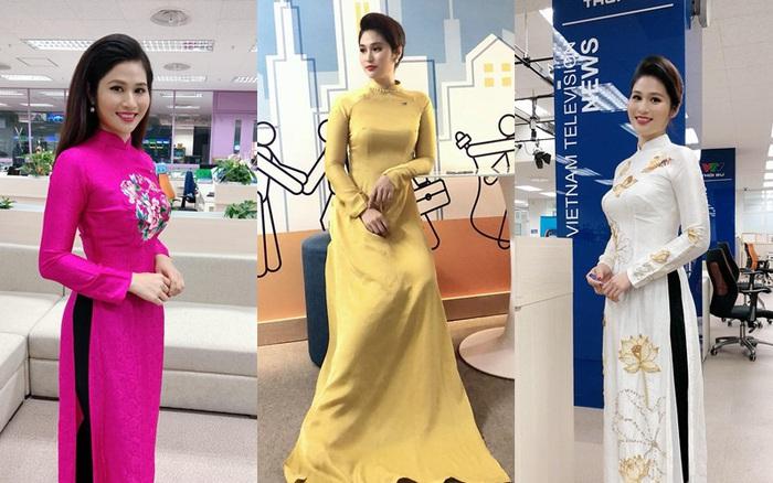 BTV thời sự Minh Trang duyên dáng trong tà áo dài trước giờ lên sóng
