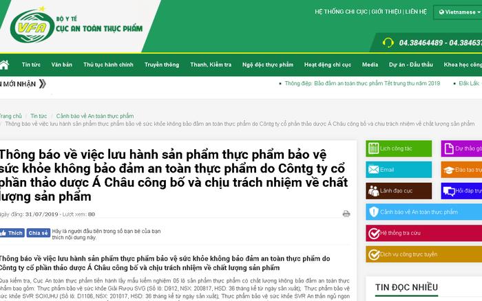 Thu hồi 5 lô sản phẩm của Công ty cổ phần thảo dược Á Châu