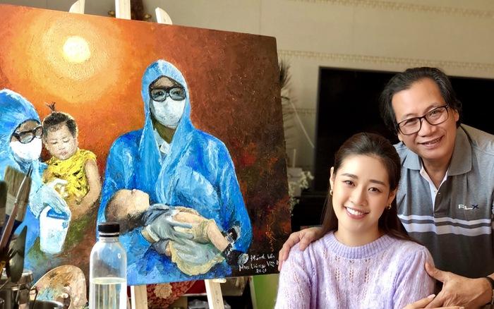 Hoa hậu Khánh Vân cùng ba vẽ tranh về phòng chống dịch COVID-19
