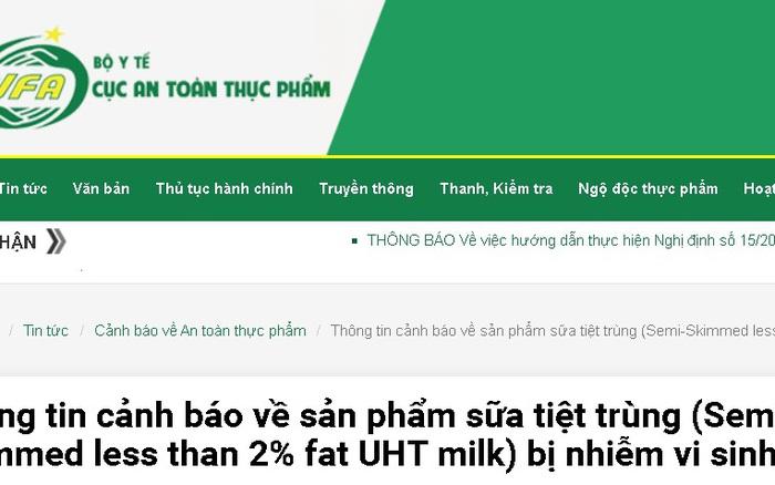 Cảnh báo lô sữa Semi-Skimmed less than 2% fat UHT milk của Anh nhiễm vi sinh vật - mega 655