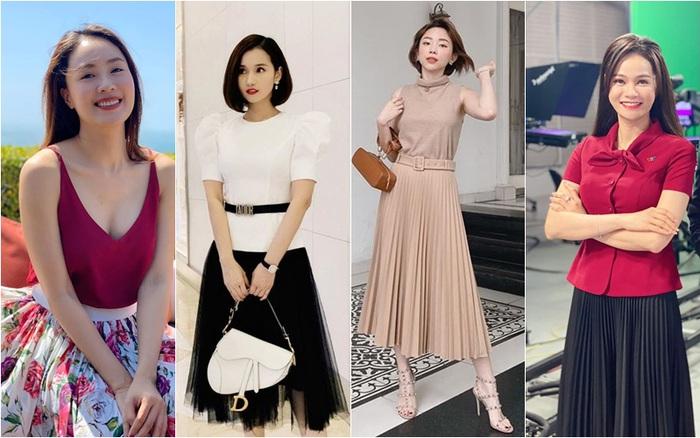 Dàn nữ MC, diễn viên, ca sĩ mặc chân váy dài xếp ly đẹp như thế nào?