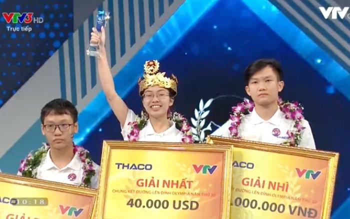 Cô gái duy nhất Thu Hằng đăng quang Đường lên đỉnh Olympia 2020
