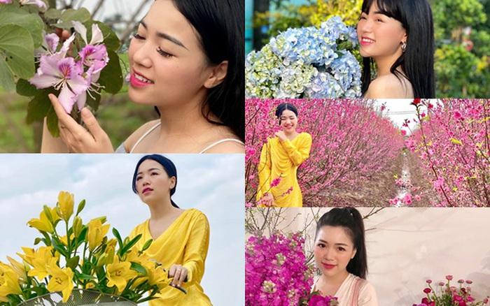 Ngắm hình ảnh BTV Đồng Thu dịu dàng bên hoa