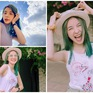 Trần Vân tự tin khoe nụ cười rạng rỡ với mái tóc xanh