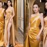"""Bộ đôi Hoa hậu """"song Linh"""" đọ độ nóng bỏng khi """"đụng"""" đầm vàng"""