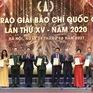 Danh sách các tác phẩm xuất sắc đoạt Giải Báo chí Quốc gia năm 2020